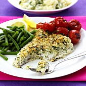 Cod with cheese and herb crust, tomatoes and green beans