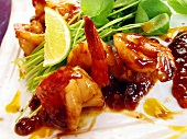 Jumbo prawns with sweet and sour chili sauce from the wok