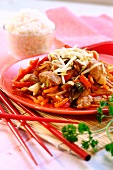 Chinese style chicken with peppers and sprouts