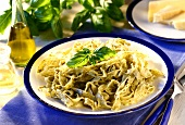 Ribbon pasta with pesto