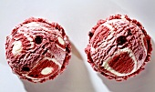 Two scoops of cherry and yoghurt ice cream