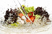 Salad ingredients in stream of water
