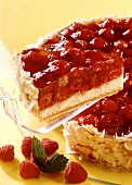 Raspberry gateau with piece on cake-slice