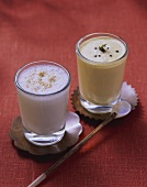 Yoghurt drinks: lassi and mango lassi