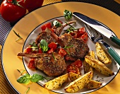 Lamb cutlets with tomatoes and country potatoes