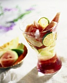 Ice-cold melon dessert with limes