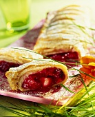 Puff pastry strudel with fruit filling