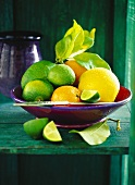 Fresh citrus fruits in red bowl