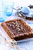 Mazurek with chocolate icing (Easter cake from Poland)