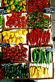 Various types of chili peppers at a market