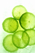 Slices of lime in crushed ice