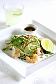 Glass noodle salad with vegetables and shrimps