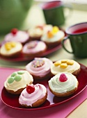 Coloured cream cakes for children