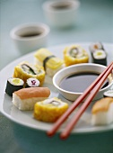 Sushi platter with soy sauce