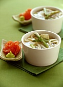 Noodle soup with green asparagus