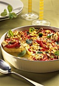 Polenta bake with tomatoes and sheep's cheese