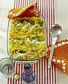 Fish and potato gratin in the baking dish
