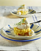 Haddock with fried onion mash and egg in mustard sauce