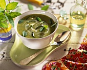 Cold creamed courgette soup with mint