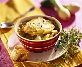 French onion soup with white bread and cheese