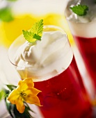 Strawberry jelly with whipped cream