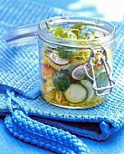 Vegetable salad in preserving jar