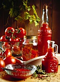Fresh and bottled tomatoes, tomato sauce and ketchup