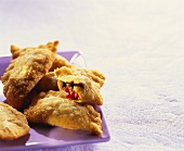 Beignets with aubergine and pepper filling