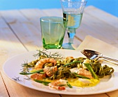Green tagliatelle and fish ragout with turmeric