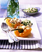 Peppers stuffed with chicken ragout; rice and peas