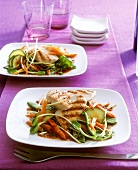 Grilled chicken breast on stir-fried vegetables