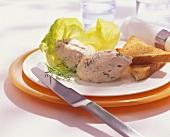Salmon and quark dumplings with toast