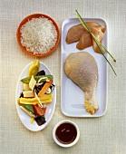 Zutaten für asiatisches Hähnchengericht