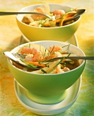 Clear broth with julienne vegetables and shrimps
