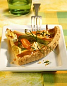 Savoury spelt quiche with soup vegetables