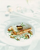 Salmon trout fillet with ceps
