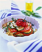 Courgette and tomato gratin with garlic