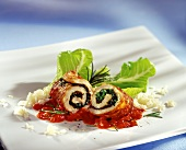 Turkey roulades with salad & cheese stuffing & tomato sauce