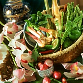 Fresh vegetables, herbs and spices for Thai cooking