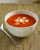 Cold tomato soup with lobster