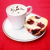 Hot chocolate and blackberry scone