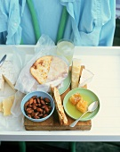 Snacks, bread and cheese for office lunch