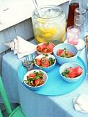 Savoury watermelon salad and lemonade