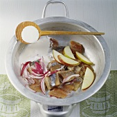 Chopped herring with apples and onions