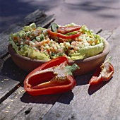 Vegetable salad with tomatoes, cucumber and peppers (Israel)