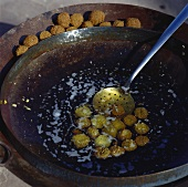 Deep-frying falafel