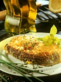 Grilled cod with toasted cheese topping