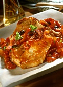 Pork steak with tomato sauce