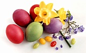 Easter eggs; sugar eggs and spring flowers