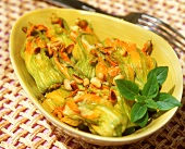 Stuffed courgette flowers with pine nuts